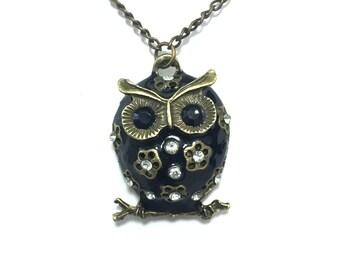 Vintage Style Black Rhinestone Owl Necklace