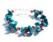 Turquoise Beaded Single Row Bracelet, Single Row light weight Turquoise Stone with Red Acrylic Bead, Red berries among the frost