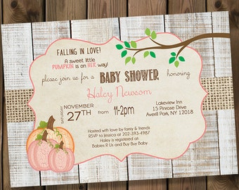 Pink Pumpkin Baby Girl Shower Invitations, Rustic Burlap Fall Shower Invitations _119