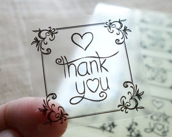 "100 pcs Transparent ""Thank You"" Shipping Labels Stickers Seals #09"