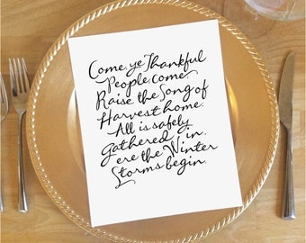 """Come, Ye Thankful People, Come     8x10"""" Calligraphy Print (Digital Download), Thanksgiving Decor, Home Decor, Hymn Print, Hostess Gift"""