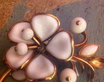 Trifari White Flower Brooch