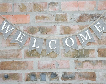 Welcome Banner, Welcome Burlap Banner, Welcome Burlap Garland - Bunting Banner - Home Decor, burlap banner, Welcome Sign, Welcome Garland