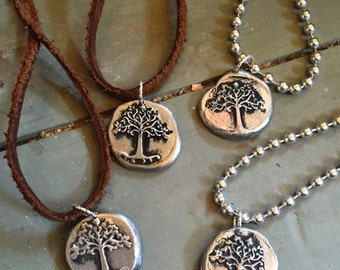 Tree of Life necklace, wax seal, hand stamped