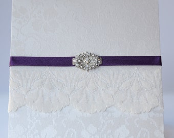 Antique Ivory Purple Lace & Vintage Brooch Style Pocketfold Invitation
