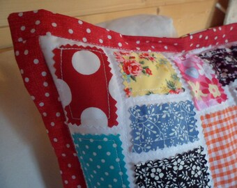 SALE 25% OFF  Handmade Patch Cushion Bright and Bold Colours