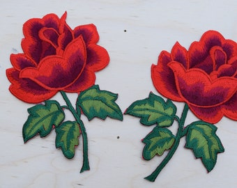 2 Red Rose Embroidery Patches Strickingly Vibrant Embroidery Red Rose Appliqué with Iron-on Backing