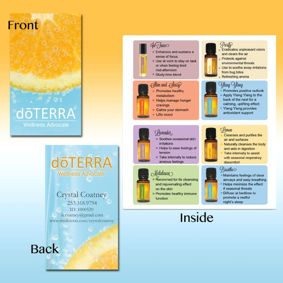 Printed doTerra Folded Business card Oranges by CrystalCoatney