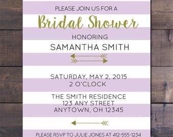 Lavendar Striped & Gold Bridal Shower Invitations