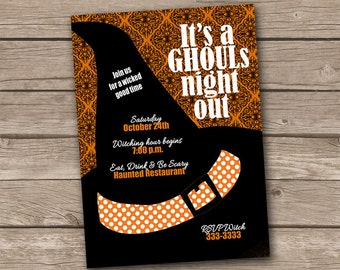 Ghouls Night Out witch hat halloween invitation