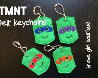 TMNT Felt Keychains, Embroidered Ninja Turtle Accessory