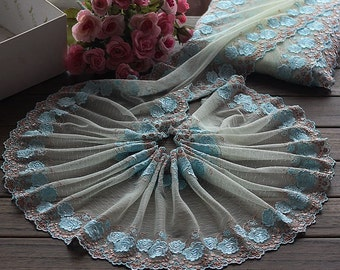High Quality Floral Lace Trim Bilateral Embroidery Tulle  Lace Trim 8.26 Inch Wide 2 Yards X048