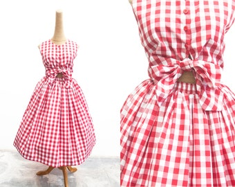 """Jayne Dress """"Sunday Picnic"""" in Red Checkered Gingham Print"""