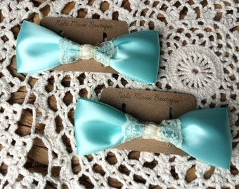 Teal & Ivory Hair Clips