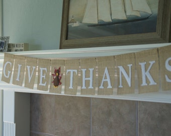 Burlap GIVE THANKS Banner with Felt and Plaid Turkey
