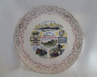 Vintage Museum Science and Industry Chicago Illinois Souvenir Plate with History
