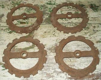 4 Vintage Corn Planter Plates Farm Industrial Steampunk Iron Repurpose Lamp Base Rusty Farm