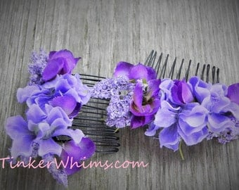 Fairy hair combs. Woman's hair combs, girl's hair combs. Purple and blue, woodland fairy hair accssories.