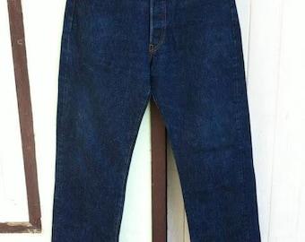 Vintage Levi's 501 Big E Hidden Rivet Jerky Tag 32 x 32