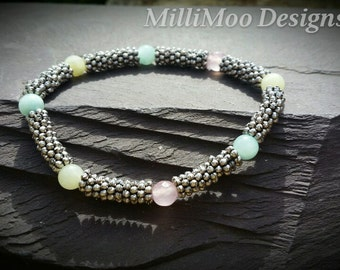 Pretty Antique Silver Plated Stretch Mesh Style Bracelet with Semi Precious Jade and Rose Quartz Gemstone Beads