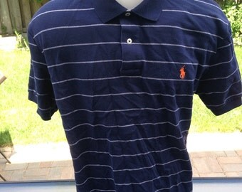 Vintage Blue & White Striped Colored Polo by Ralph Lauren
