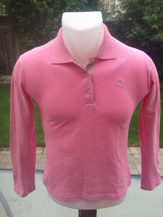 Vintage Pink Women's Long Sleeve Burberry Polo