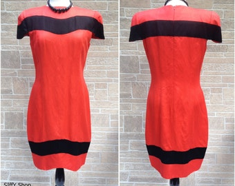 Scarlet red and black color block 80s dress - large