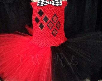 Harlequin costume, black and red tutu, jester costume, jester tutu, harlequin tutu, ring master tutu, ring master costume