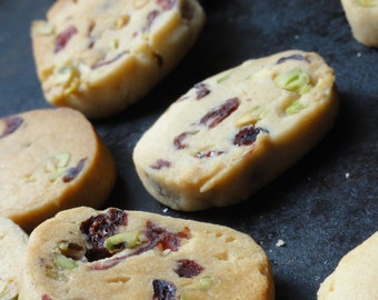 pistachio cranberry butter cookies,butter cookies, shortbread cookies, tea cookies, pistachio cranberry cookies