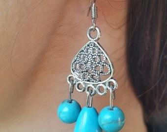turquoise tibetan silver earrings