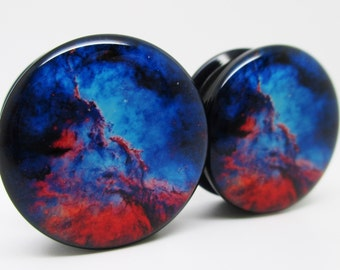 Nebula Blue & Red Galaxy Ear Plugs - Acrylic Screw-On - 10 Sizes - Pair