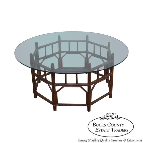 Rattan Coffee Table Etsy: Vintage Bamboo Rattan Base Round Glass Top By