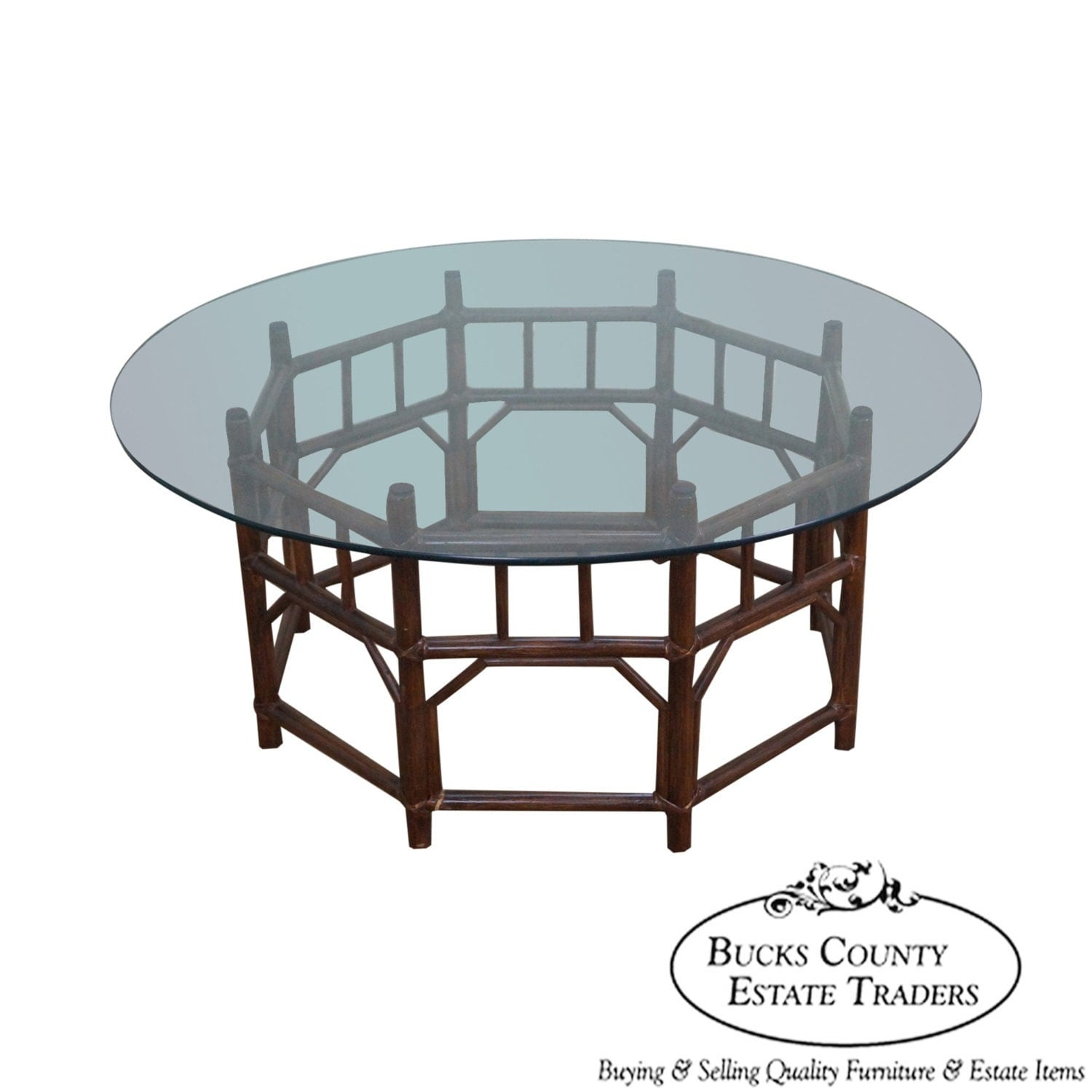 Vintage Bamboo Rattan Base Round Glass Top By