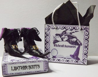Dolls House Miniature Leather Witch Boots in 1/12th Scale