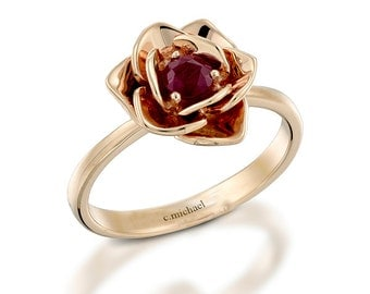 floral ring ruby ring rose ring 14k rose ring flower ring - Ruby Wedding Rings