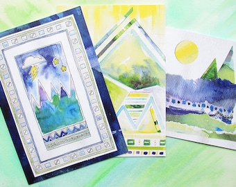 Set of 3 mountain themed greeting cards from original artwork