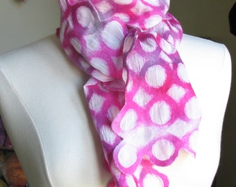 nuno felted scarf, hand dyed  extra fine merino wool and silk, handmade, bright pink, white and grey.