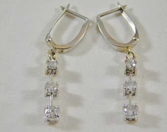 14kt White Gold Past, Present, & Future Dangle Earrings