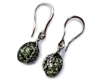 Henryka Green Amber & Silver Oak Leaf Hook Earrings