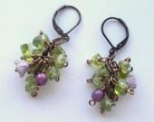 Peridot Earrings, Green Earrings, Cluster Earrings, Green Gemstone Earrings, August Birthstone, Beaded Charm Drop Earrings, Beaded Earrings