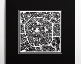Paper cut map Milan, matted 20×20 In. color alternative, Paper Art IDEAL GIFTS