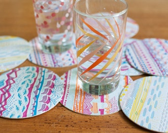 Letterpress Printed Coasters, Multicolored Patterned 4 Inch Round, Set of 8