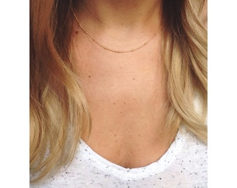 Dew drop Necklace / layering necklace /satellite necklace / 14k gold filled