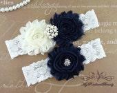 Wedding Garter Set, Garter Belt, Garters, Shabby Chiffon Rosette Ivory Navy Garter, Sexy Garter, Handmade Garter, Bridal Garter GTF0026DNB
