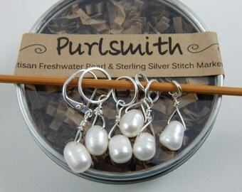 Set of 6 Lovely Cream Freshwater Pearls & Sterling Silver Wire Wrapped Stitch Markers for Knitting,Gift for Knitter,Knitting Notion