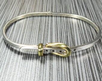 Vintage Sterling Silver Bangle Bracelet Mexico Buckle Bracelet Vintage Silver Bracelet Silver Hinged Bracelet - Free Ship