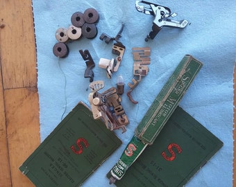 Singer sewing attachments, bobbins and manuels