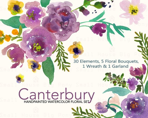 30 Floral Elements, 5 bouquets, 1 wreath and 1 garland,  purple flowers, watercolor flowers, diy clip art, violet- Canterbury