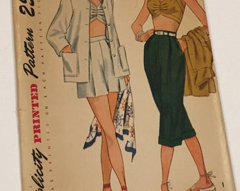 1950's Vintage Simplicity Sewing Pattern 3250 Bra Top, Shorts & Beach Jacket