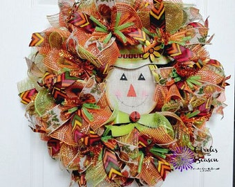 Scarecrow deco mesh wreath, fall wreath, autumn wreath with scarecrow